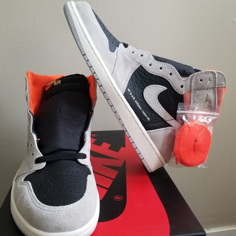 65ed428207f2 Nike Air Jordan 1 retro high OG neutral grey hyper crimson - Depop