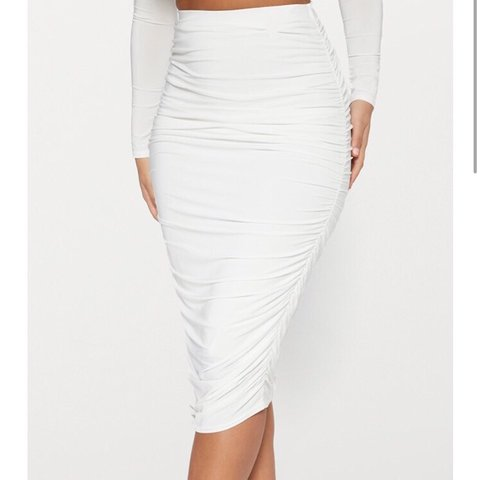 d7b26a3d6 @hettiedots1010. 11 months ago. Coventry, United Kingdom. White slinky  second skin ruched midi skirt ❣ Brand new with tag❣ Pretty little thing