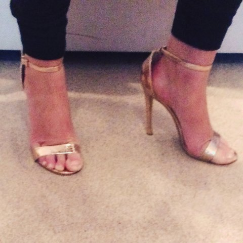 438952981f0e Rose gold size 5 strappy high heels worn once topshop - Depop