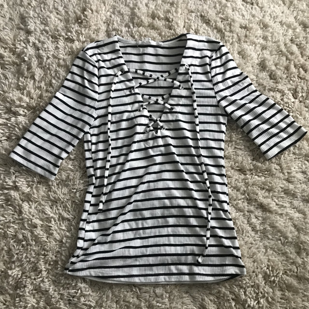 Black And White Striped Tie Up Shirt Super Soft Thin But Depop