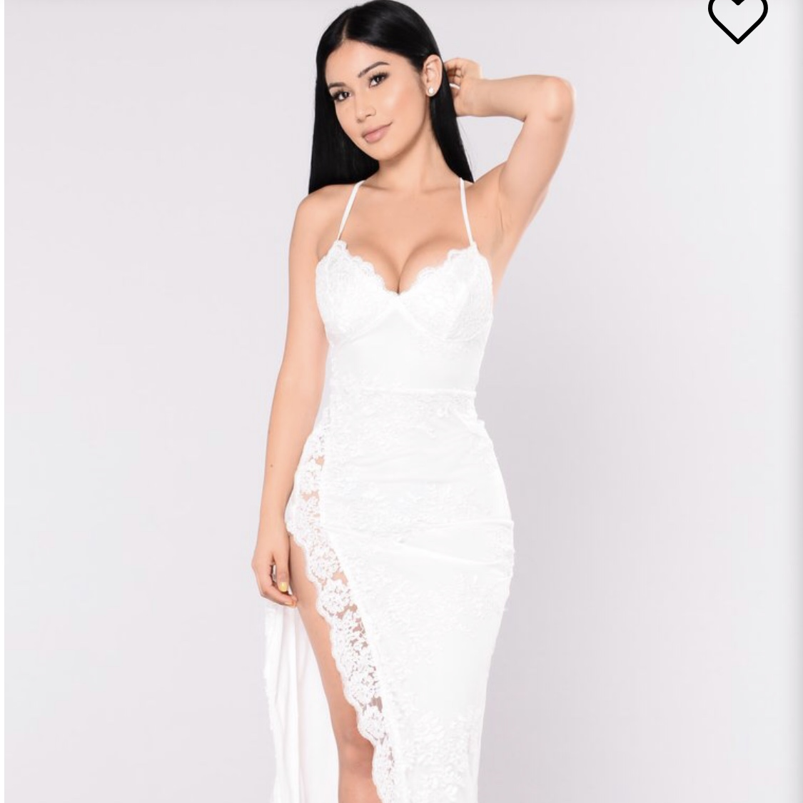 White fashionnova gown. Perfect for formal , Depop