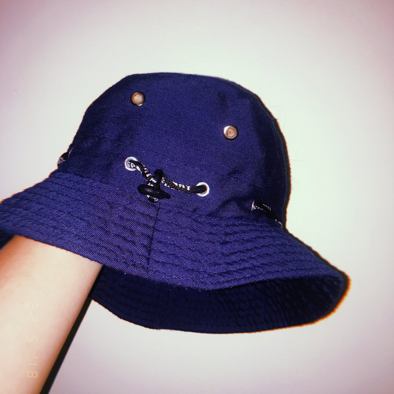 90 s sport Navy blue bucket hat with adjustable string       - Depop 40b8721cf89