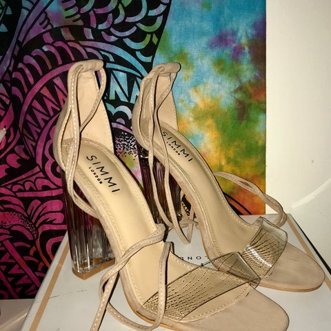 5b544c9c3a5 Brand new barely there heels (Nude Suede Lace Up Clear great - Depop