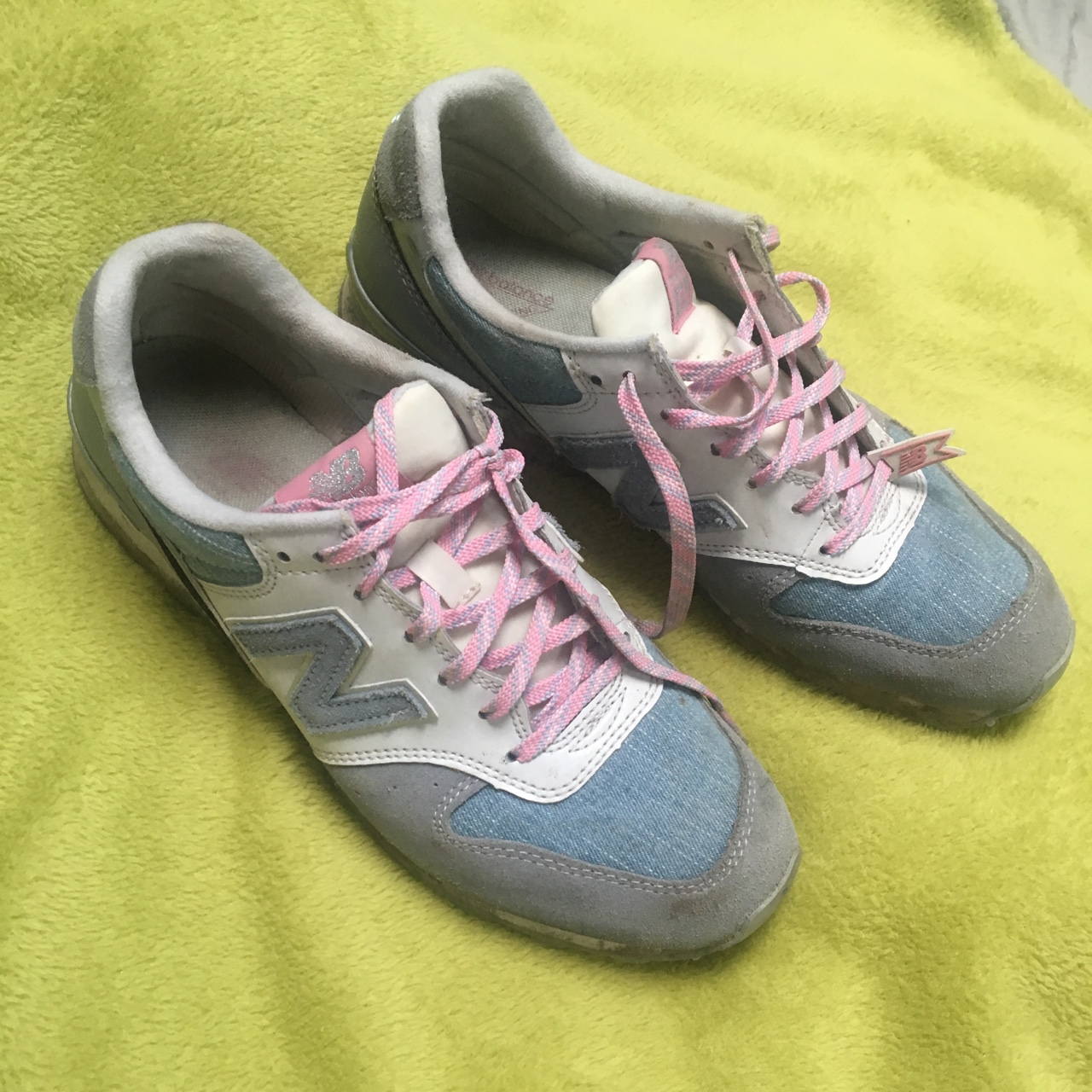 info for 73c26 889dd New balance 996 denim and pink shoes, super cute... - Depop
