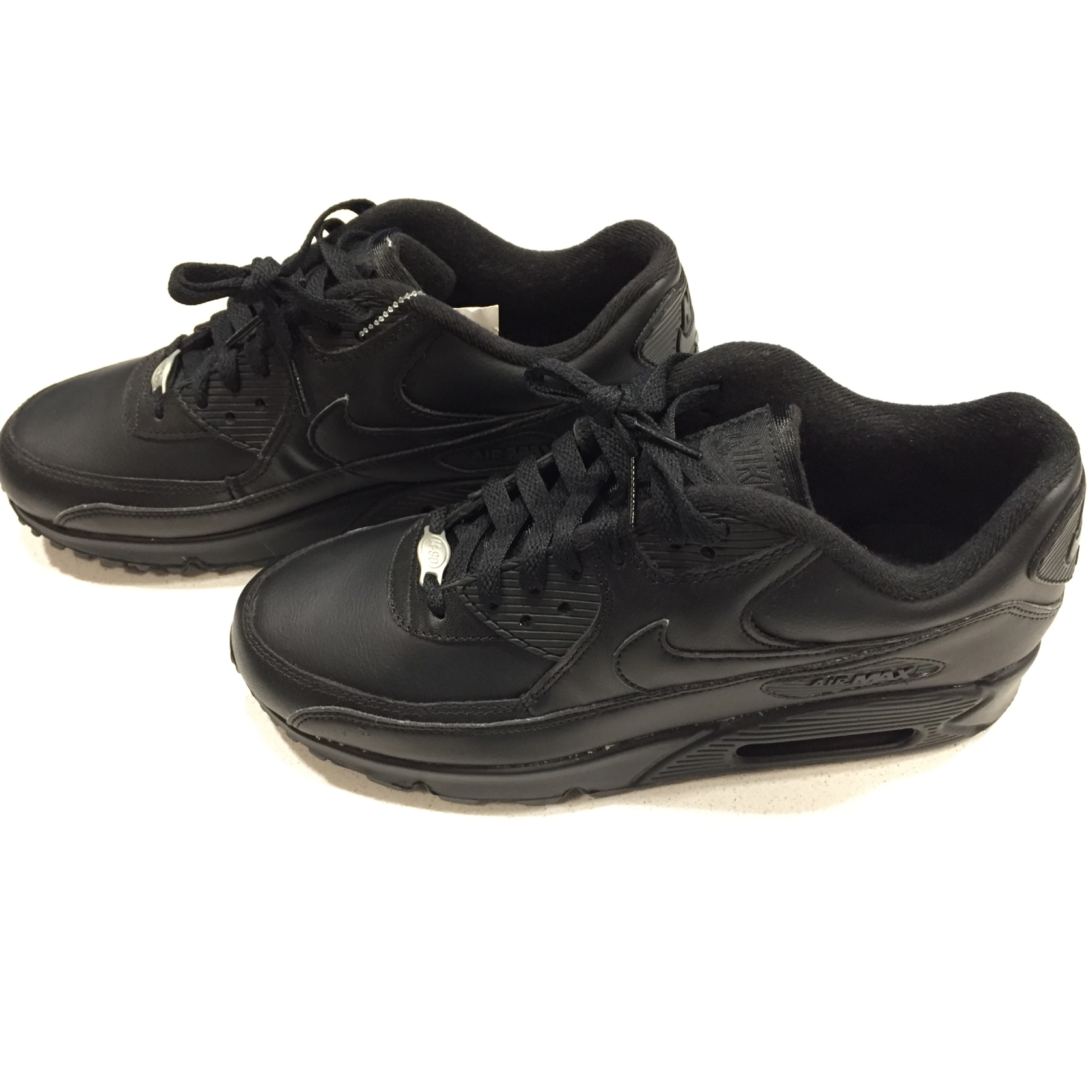 All Black Nike Air Max M90 Leather Mens Shoes in Depop