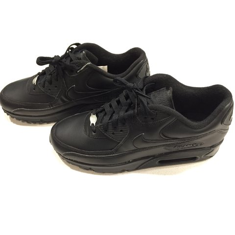 11990d08b1b4d Men s Nike Air Max 90 Leather Triple All Black Running Shoes - Depop