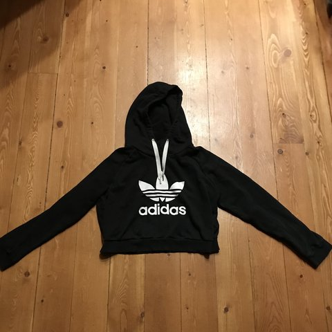 bb4ab22918e0 Adidas crop top hoodie a little faded but in overall good is - Depop