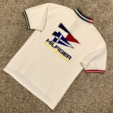 63cbd280 @pierrecartier. 9 days ago. Wyomissing, United States. Vintage Tommy  Hilfiger Sailing Gear Double Sided Embroidered Spell Out Nautical Flag ...