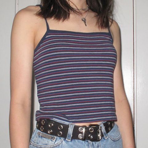 0a6b249de91 @maksshop. 11 months ago. Victoria, Canada. Brandy Melville Blue Red and White  Striped Tank Top