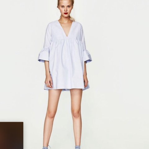 d62242e1497 Selling this Zara playsuit jumpsuit dress in light blue with - Depop