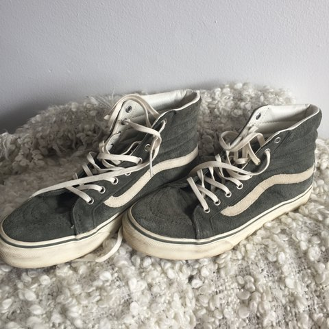 e04b470bf2 Super cute olive green high top vans !! 🌿 size 8 women s in - Depop