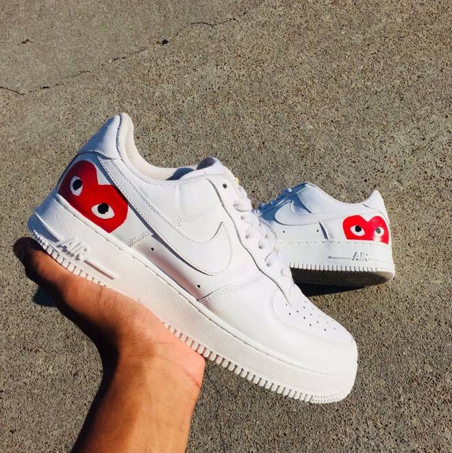 quality design c305b d6134 Custom Nike Air Force 1 with red CDG / Comme des... - Depop