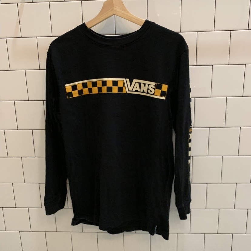 919211a6 classic vans shirt with black yellow and white... - Depop