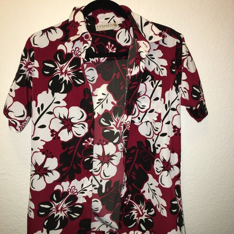 """4a7f1d5a @husseisis. 9 months ago. North Las Vegas, United States. Red floral ("""" Hawaiian"""") button down"""
