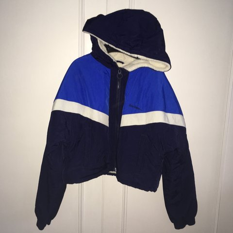 c2fb88c8e5a Urban outfitters iets frans blue waterproof jacket. Perfect - Depop
