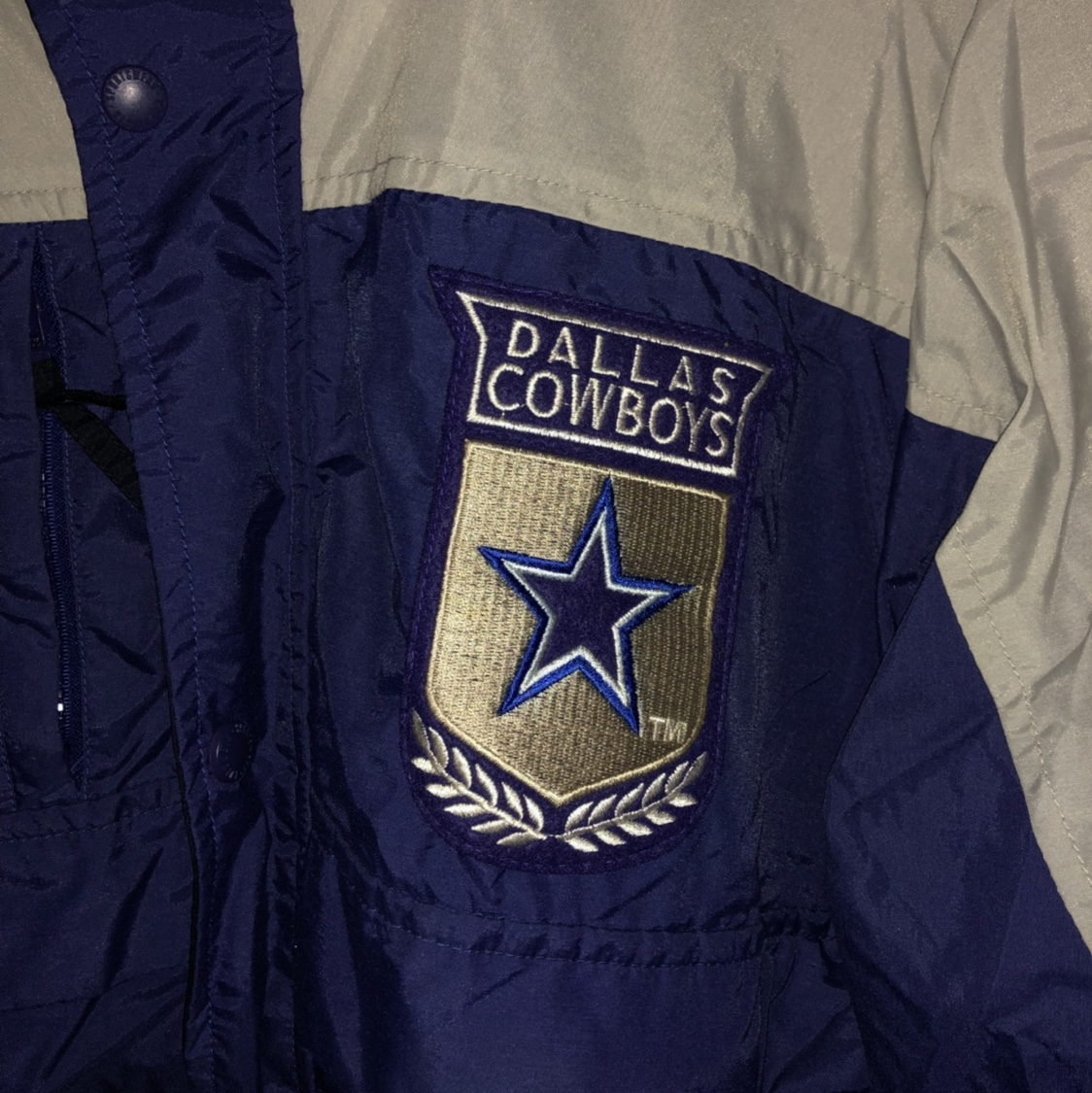 new style 9f37f df88b Vintage Dallas Cowboys Columbia blue and grey jacket... - Depop