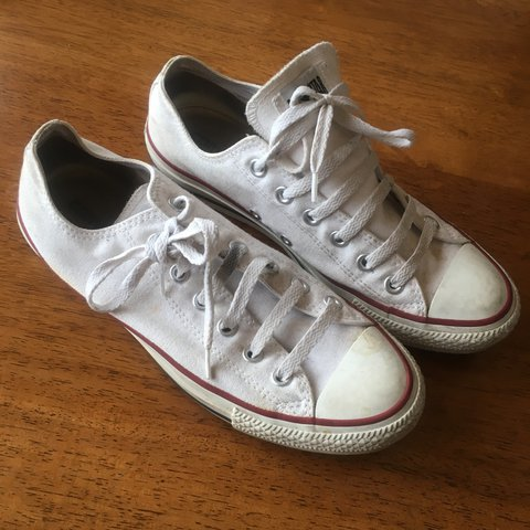 0b3dd9f7292d Converse All Star Unisex white trainers in US men s size 7   - Depop