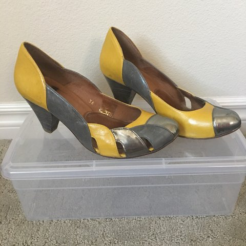 f1fa64fba189 Solea Shoes Yellow and Silver. Retro style. Purchased for I - Depop
