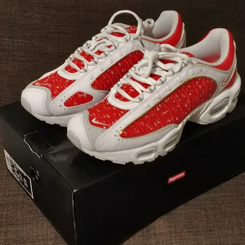 c58f9814 Supreme x Air Max Tailwind 4 university red white Nike ss19 - Depop