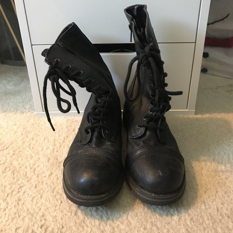 Black combat boots from Kohl's in a