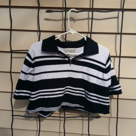 cd26c2f3099 @shimarsim. 10 days ago. Plano, Collin County, United States. Black and white  striped cropped knit shirt ...