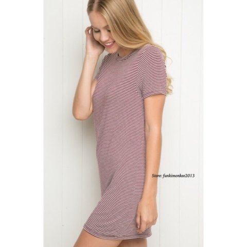 6e848492898a @evesclothes. 2 years ago. Stockport, UK. Brandy Melville maroon striped  luana t shirt dress ...