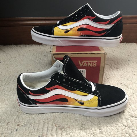 Old skool flame vans Never worn! Has box and laces. I them - Depop 181e2ca5e