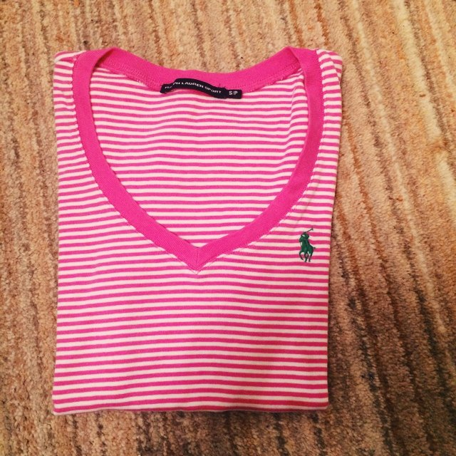 8f92461596f02 Ralph Lauren sport pink and white stripe tshirt. Size small