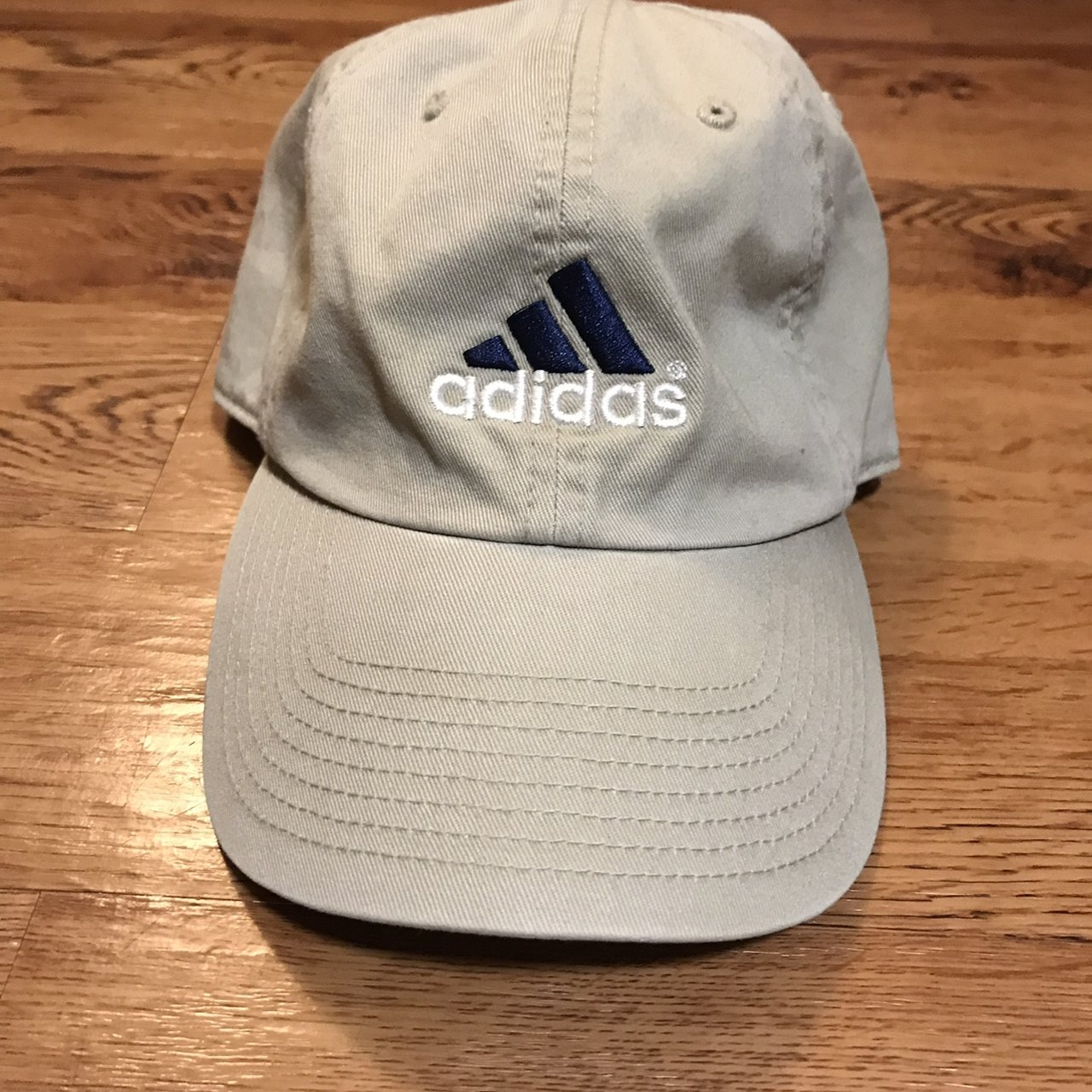 Vintage Adidas khaki colored Dad hat. One size fits all. no - Depop 74024451c6e