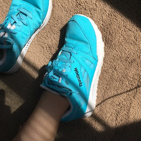 Neon blue Reebok Hexalite Ventilator shoes. I m a women s 7 - Depop 425c30af1