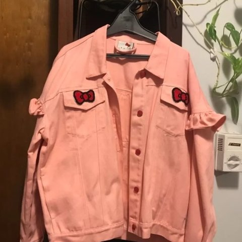 51af57cae On hold for @tristecita Hello Kitty x Lazy Oaf Denim Jacket. - Depop