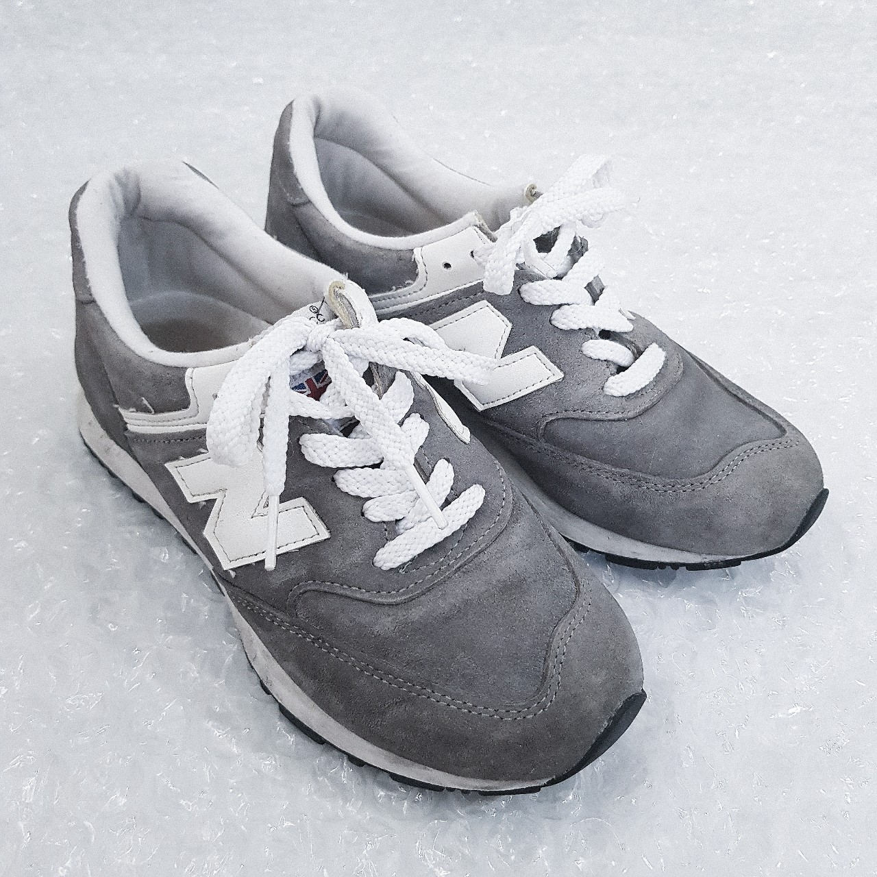 outlet store 861c4 66399 NEW BALANCE 576 TRAINERS grey & white chunky... - Depop