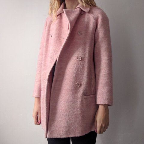 37c47e50a Zara double breasted baby pink  light pink wool coat with   - Depop