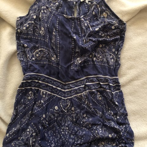 4ad58166abf6 SUUUPER cute blue and white romper from Charlotte Russe!! L - Depop