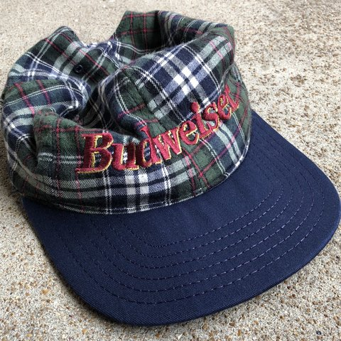 aa1df135a5c5e Budweiser plaid snapback No size one size. Great condition - Depop