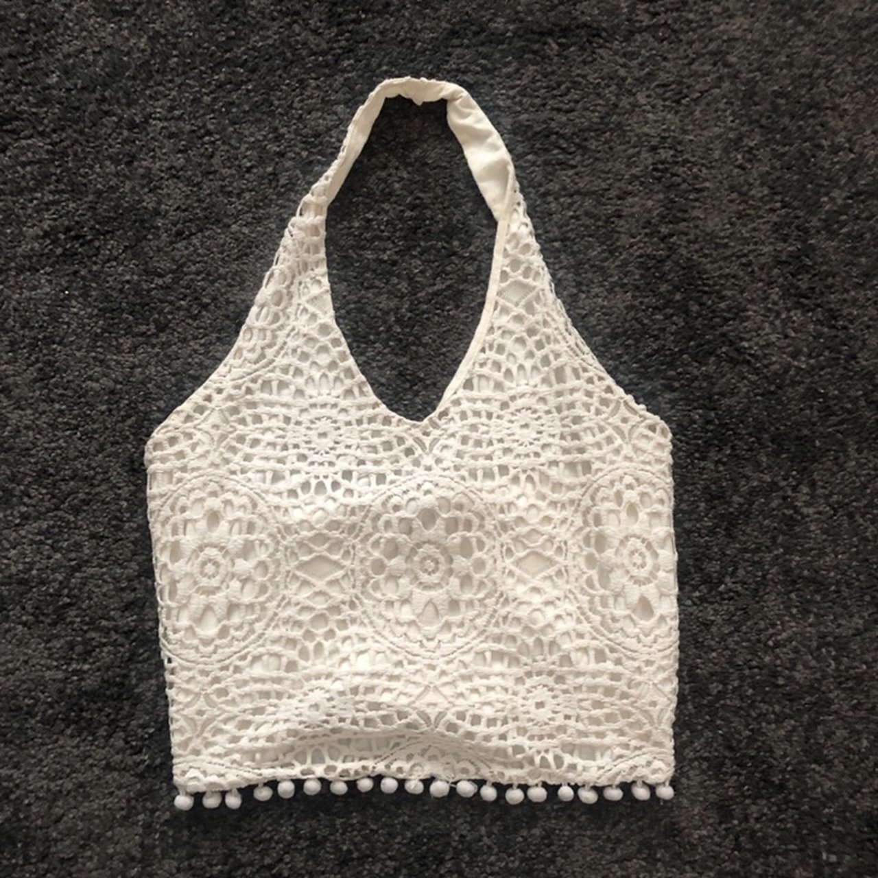 598f9f9d117aa Cutest topshop crochet style halter crop top with pom prom - Depop