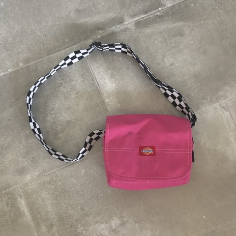 Pink dickies side bag with black and white checkered strap a - Depop 4a095d620447b