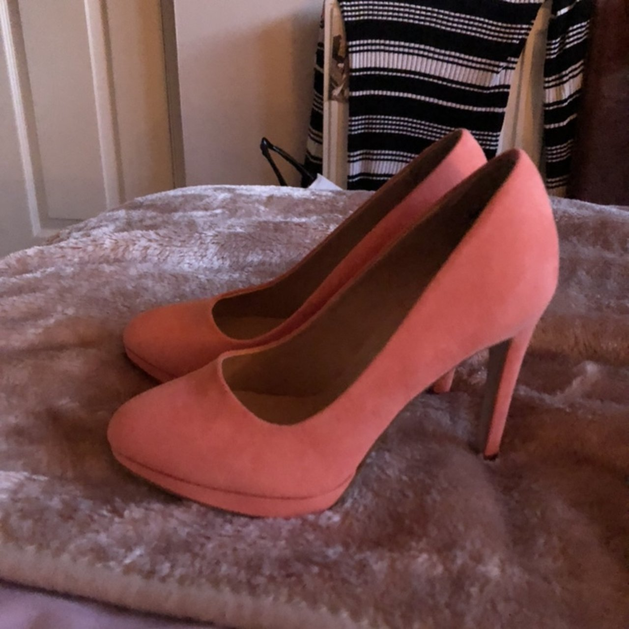 9f50659ad51 Coral   peach coloured high heels from new look. Uk size 3. - Depop
