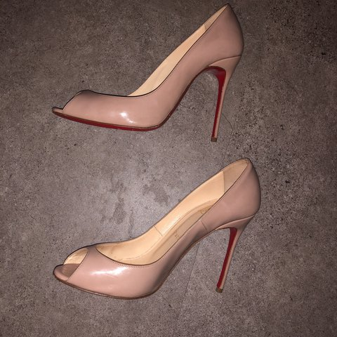 a1422fb27616 Christian Louboutin nude patent peep toes