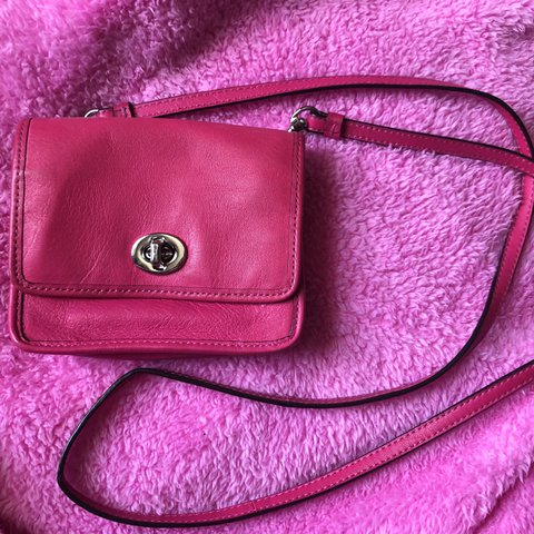 Hot pink coach cross body -small -few stains and belt - Depop 291c9d3bb7