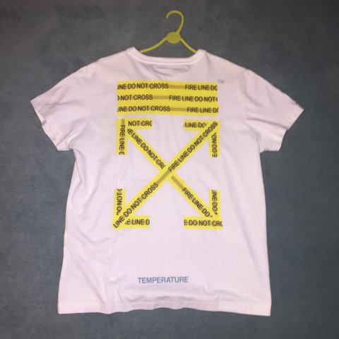 eae71a47 @sam_s9. 6 months ago. Maidstone, United Kingdom. Off white tee temperature  (fire tape) Brand new ...