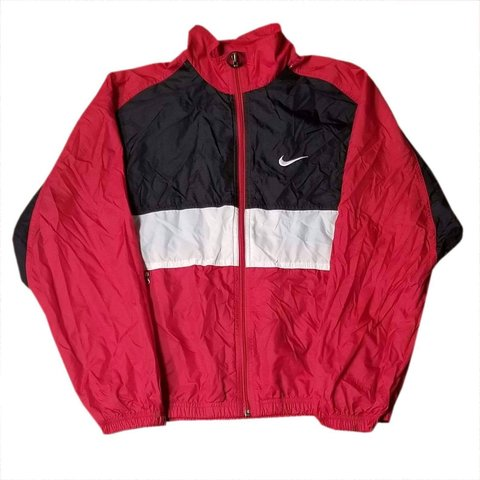 7539d832d Vintage red, black, and white Nike windbreaker. This a red a - Depop
