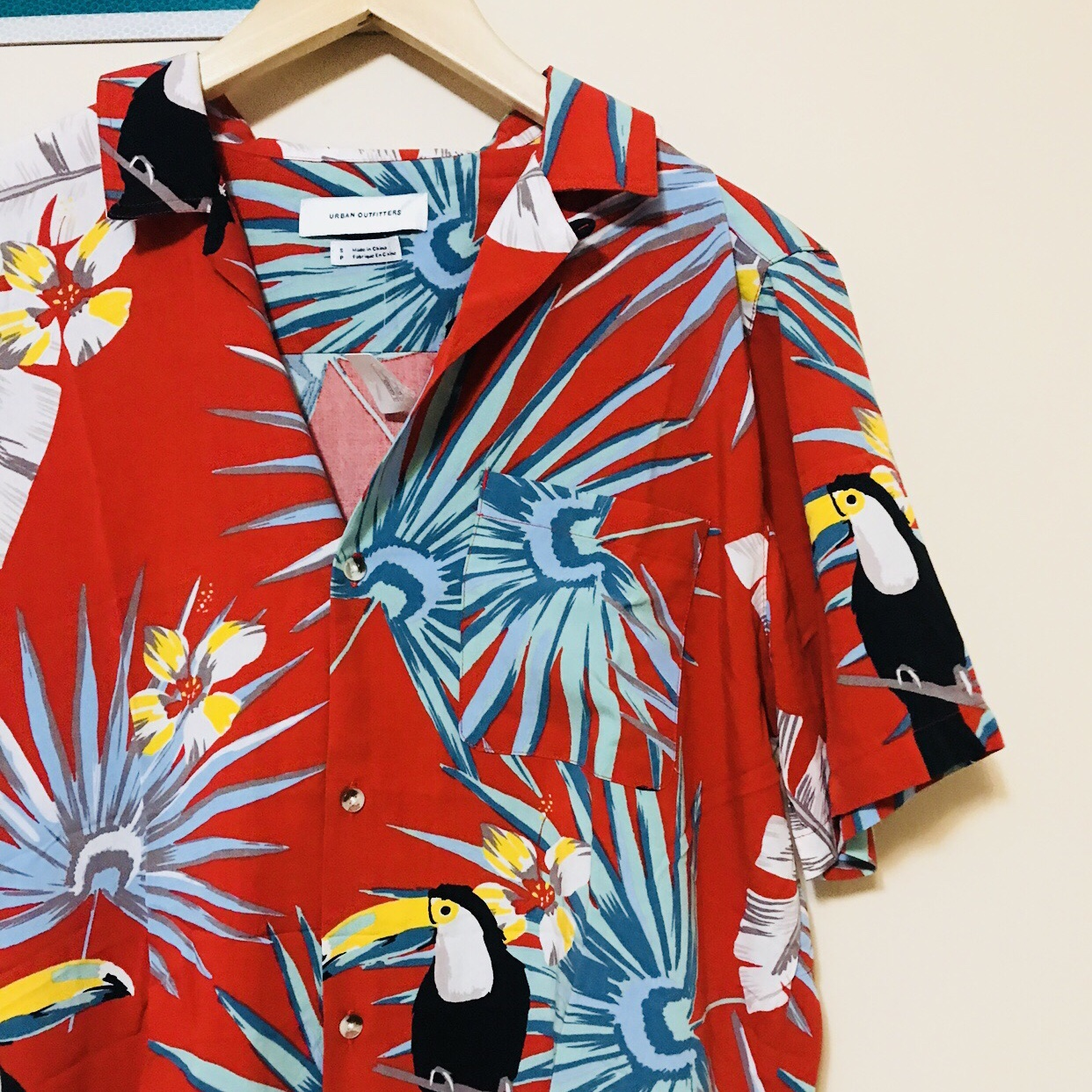 Bright red Urban outfitters Hawaiian shirt, With...