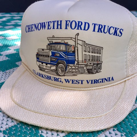Vintage Chenoweth Ford Trucks Trucker Hat. White - Woven. to - Depop 06ee87ff3091