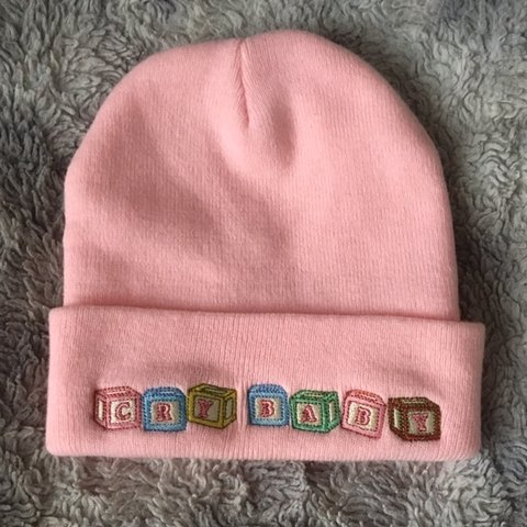"f93848ea5bd5f Baby pink ""Cry Baby"" beanie. Official Melanie Martinez merch - Depop"