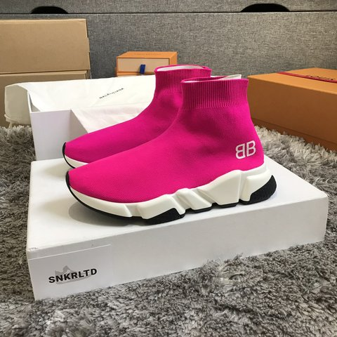 7611b2a6f89be Women s Balenciaga Speed Sock Trainers Pink White Black UK4 - Depop