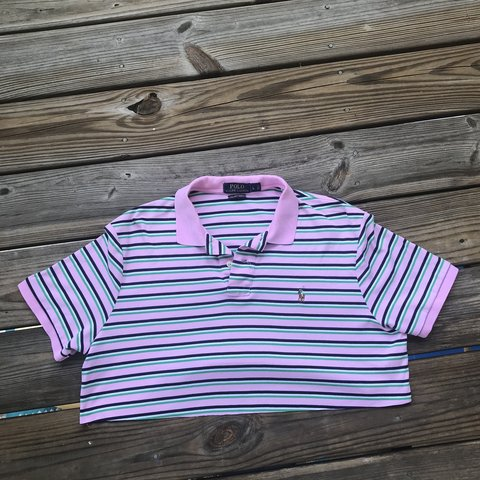 cc7ef2b9cbc @afrochyna. 11 months ago. Wake Forest, United States. Pink Striped Ralph  Lauren Polo Crop Top 🐷