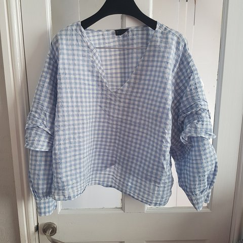 9f630463127bca Blue gingham blouse Topsbop size 16. With bell ruffle lovely - Depop