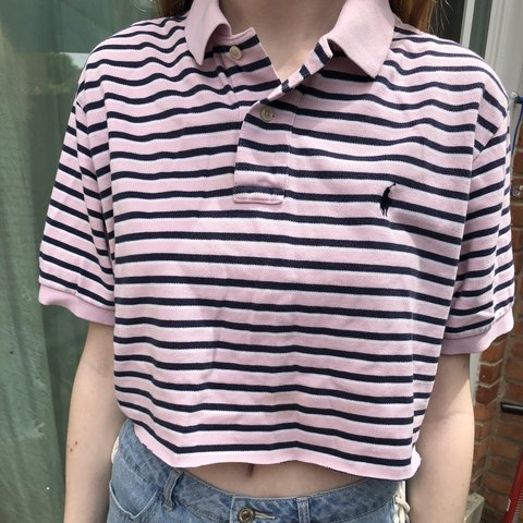 c3b73bc60c0 @vintage__closet. 11 months ago. United States. Polo Ralph Lauren pink and black  striped Croptop in euc. Size Large