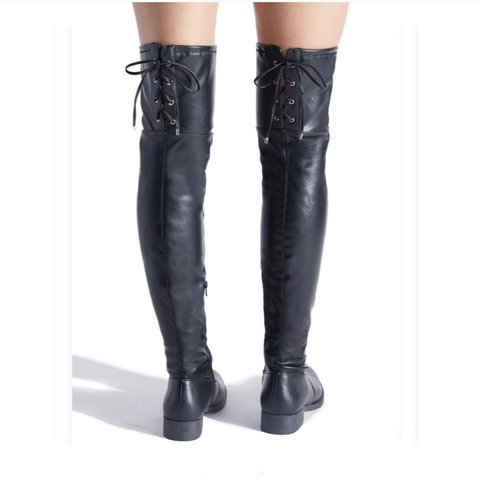 7361741f4c8 Shoe Dazzle over the knee corset lace up faux leather boots. - Depop